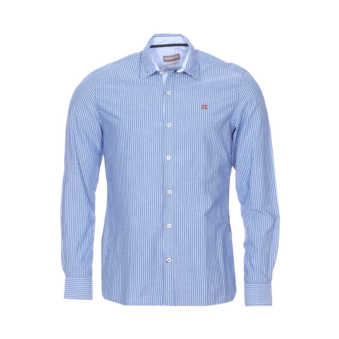 Chemise cintrée gulfport  en coton bleu indigo à rayures bleu ciel et blanches