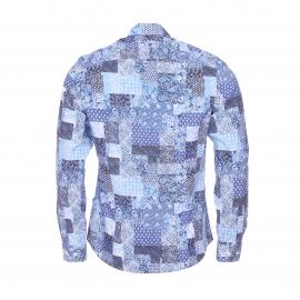 Chemise cintrée Gisborne Napapijri en coton effet patchwork bleu et blanc