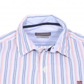 Chemise cintrée Gulfport Napapijri en coton blanc à rayures bleues, orange, jaunes et rouges