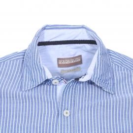 Chemise cintrée Gulfport Napapijri en coton bleu indigo à rayures bleu ciel et blanches