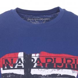 Tee-shirt Saleny Napapijri bleu indigo imprimé du drapeau norvégien