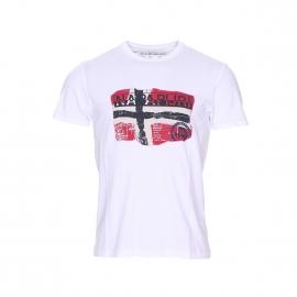 Tee-shirt Saleny Napapijri blanc imprimé du drapeau norvégien
