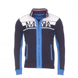 Sweat zippé Napapijri bleu marine à empiècements gris chiné et bleu électrique