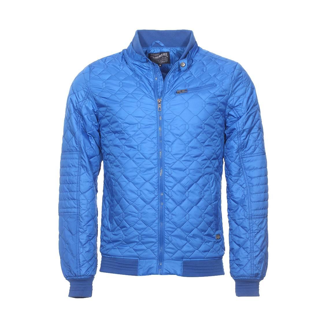 Blouson matelassé zippé  bleu roi