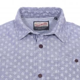 Chemise manches courtes Petrol Industries fil à fil bleu grisé blanchi à motifs
