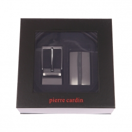 Coffret cadeau Pierre Cardin : Ceinture ajustable et réversible à larges boucles interchangeables pleine et rectangulaire