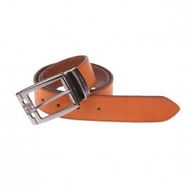 Large ceinture Pierre Cardin ajustable en cuir mat marron clair, Boucle siglée