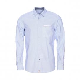 Chemise cintrée Pierre Cardin en coton à petits motifs blancs, bleu clair et bleu marine