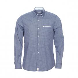Chemise cintrée Pierre Cardin en coton bleu marine à petits motifs bleu clair