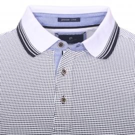 Polo Pierre Cardin dégradé bleu marine et blanc à imprimés points