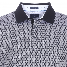 Polo Pierre Cardin en coton noir à imprimés ronds blancs à motifs zigzags