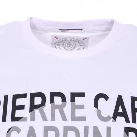 Tee-shirt col rond Pierre Cardin blanc floqué du logo