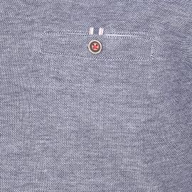 Polo Pierre Cardin en piqué de coton bleu marine et blanc