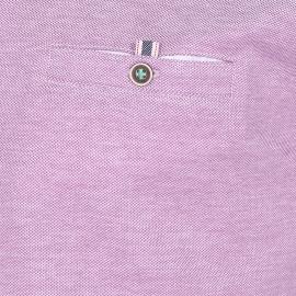 Polo Pierre Cardin en piqué de coton mauve et blanc