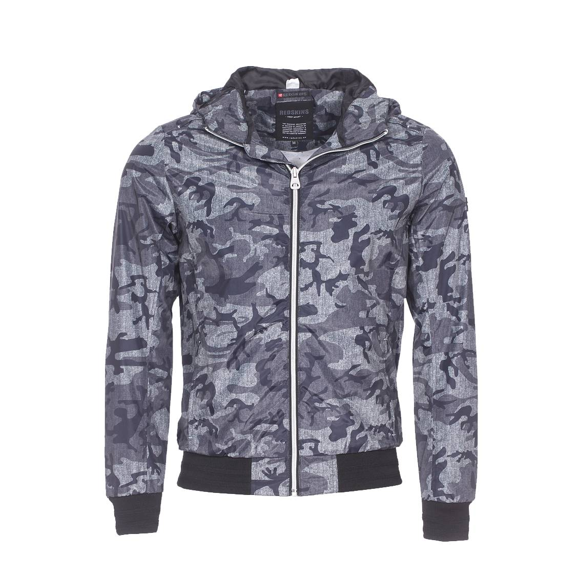 Blouson à capuche  gris asphalt à motifs camouflage