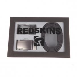 Coffret cadeau Redskins : Ceinture ajustable en cuir noir et réversible à boucle classique et boucle pleine