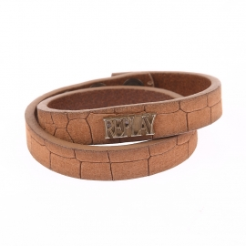 Bracelet double Replay en cuir marron craquelé