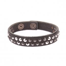 Bracelet Replay en cuir noir à piques métalliques