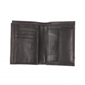 Portefeuille européen Replay en cuir noir