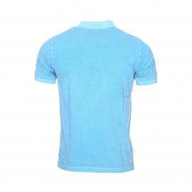 Polo Replay en piqué de coton bleu turquoise, effet vintage