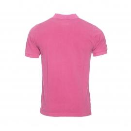 Polo Replay en piqué de coton rose, effet vintage