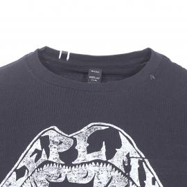 Tee-shirt col rond Replay en coton noir à imprimé blanc