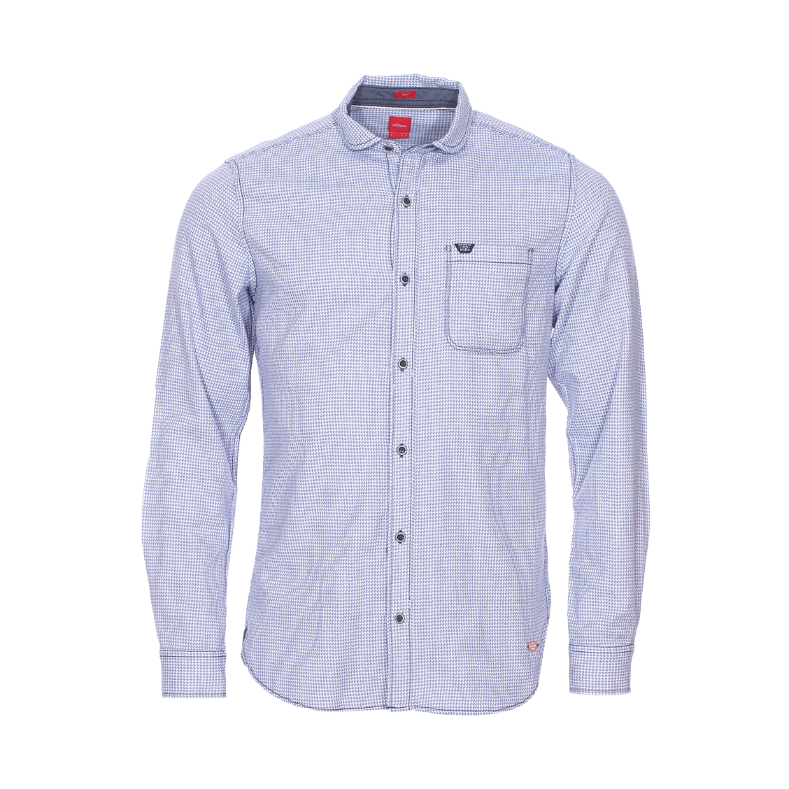 Chemise cintrée  à imprimé nid-de-poule bleu et blanc