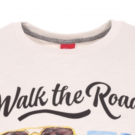 Tee-shirt col rond S. Oliver en coton floqué Walk the Road
