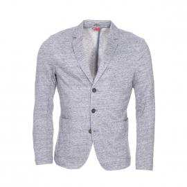 Veste de blazer S. Oliver cintrée en lin et coton gris moucheté