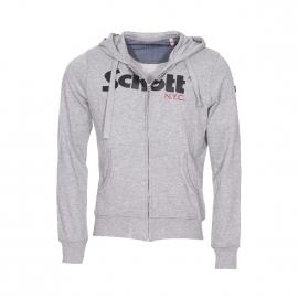 Sweat zippé à capuche Schott NYC gris chiné