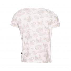 Tee-shirt col rond Schott NYC en coton crème à imprimé feuillage beige