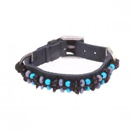 Bracelet Scotch & Soda en cuir bleu marine à perles