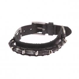 Bracelet Scotch & Soda en cuir noir à perles