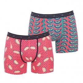 Lot de 2 boxers longs Scotch&Soda en coton stretch orange à motifs bleus et à imprimé pastèque et multicolore à motifs géométriques