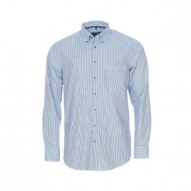 Chemise droite Seidensticker en coton blancs à carreaux bleu marine et bleu turquoise, sans repassage