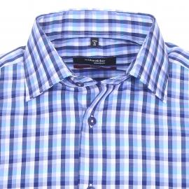 Chemise droite manches courtes Seidensticker en coton à carreaux bleus et blancs, sans repassage