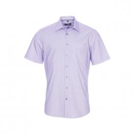 Chemise droite manches courtes Seidensticker en coton blanc à petits carrés bleus et lilas