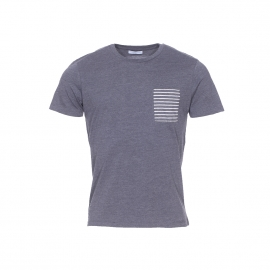 Tee-shirt col rond Selected gris anthracite à poche rayée