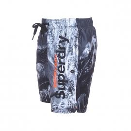 Short de bain Superdry à imprimé palmiers en noir et blanc
