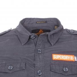 Chemise ajustée Superdry en coton épais gris anthracite
