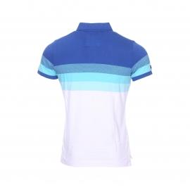 Polo Superdry en coton blanc, bleu cyan et turquoise