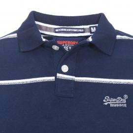 Polo Superdry en coton bleu marine à fines rayures blanches et grises