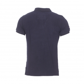 Polo Superdry en piqué de coton bleu marine