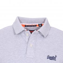 Polo Superdry en piqué de coton gris clair chiné
