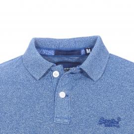 Polo Superdry en piqué de coton mélangé bleu cobalt chiné
