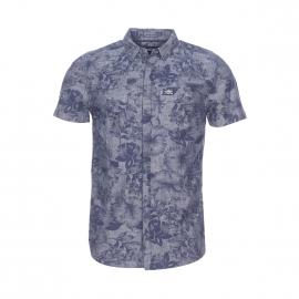 Chemise manches courtes Superdry gris foncé à motifs fleurs bleu marine