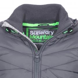 Sweat zippé et matelassé à capuche Storm Hybrid Superdry gris chiné et anthracite