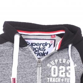 Sweat zippé à capuche Superdry gris chiné molletonné à manches noires