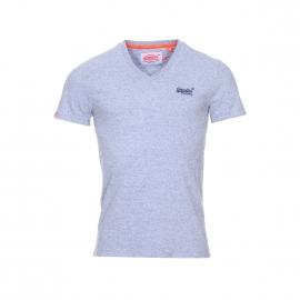 Tee-shirt col V Superdry en coton bleu glacé chiné
