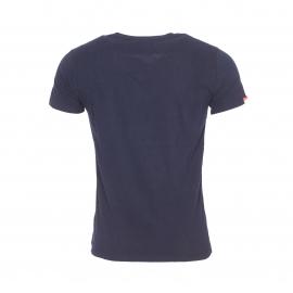 Tee-shirt col V Superdry en coton bleu marine
